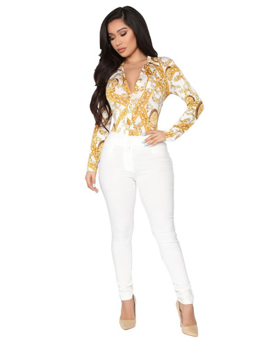 White Fashion hot sale hot printing shirt multi-color women's skirt