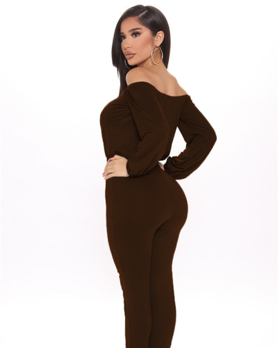 Brown Sexy fashion hot-selling one-neck tube top jumpsuit