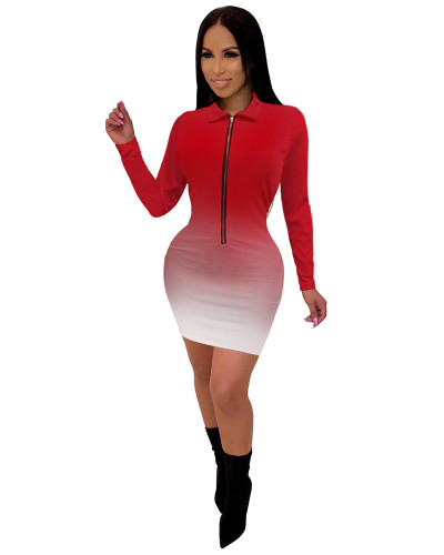 Red Fashionable V-neck mid skirt women's gradient color one-piece dress