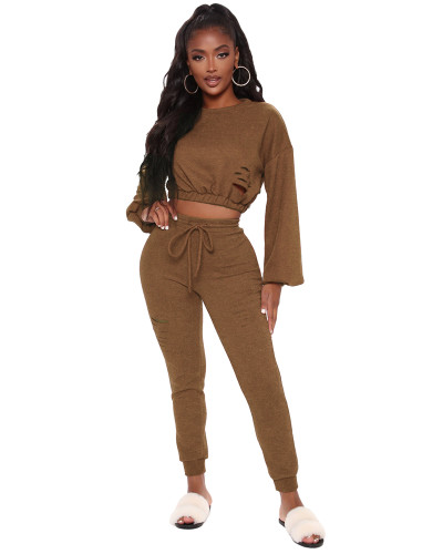 Brown Casual fashion classic solid color suit two-piece suit