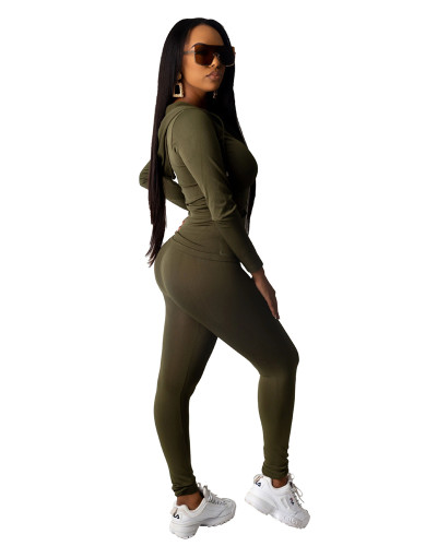Green Fashion hooded sports suit two-piece suit