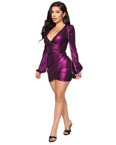 Purple Hot selling sexy fashion evening slim V-neck dress