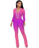 Pink Two-piece sports suit with zipper sweater and tights