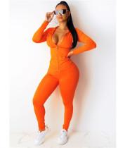 Orange Fashion hooded sports suit two-piece suit