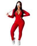Red Fashion hooded sports suit two-piece suit