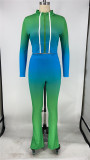Lighet bule Two-piece sports suit with zipper sweater and tights