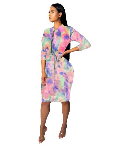 1 Fashionable female slim one-piece dress