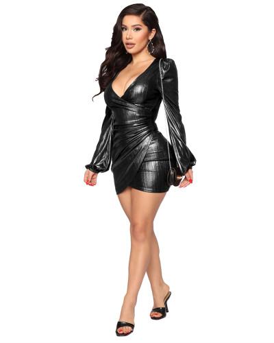 Black Hot selling sexy fashion evening slim V-neck dress
