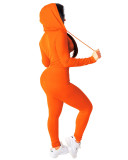Orange Fashion hooded sports suit two-piece suit
