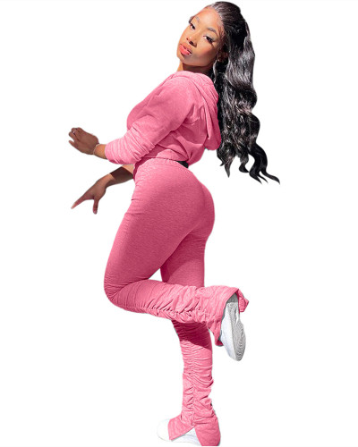 Pink Two-piece fashion pleated slim fit hooded suit