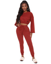 Red Casual fashion classic solid color suit two-piece suit