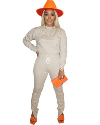 Apricot Long sleeve round neck T-shirt side zipper pants two-piece sports suit