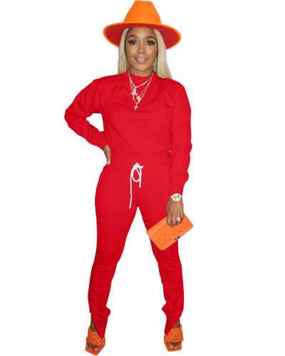 Red Long sleeve round neck T-shirt side zipper pants two-piece sports suit