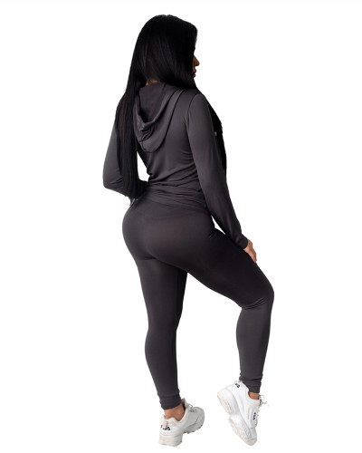 Black Fashion hooded sports suit two-piece suit