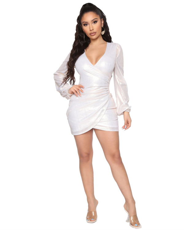 Silver Hot selling sexy fashion evening slim V-neck dress