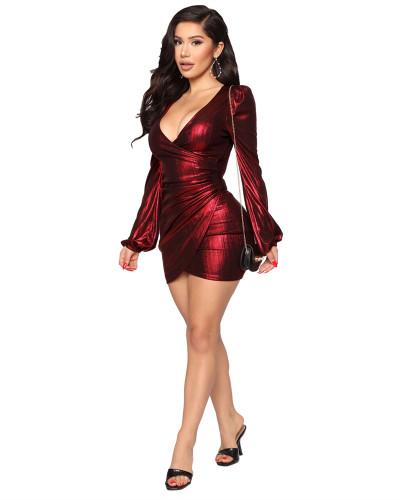 Red Hot selling sexy fashion evening slim V-neck dress