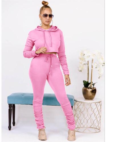 Pink Pure color sweatshirt pleated pocket hoodie sports suit
