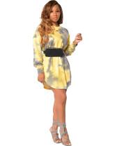 Yellow Long sleeve tie-dye multicolor fashion casual dress