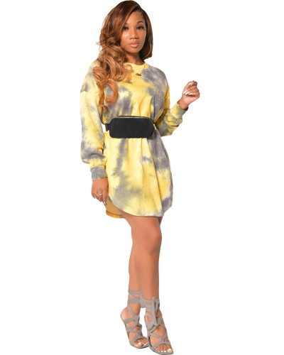 Yellow Long sleeve tie-dye multicolor fashion casual dress
