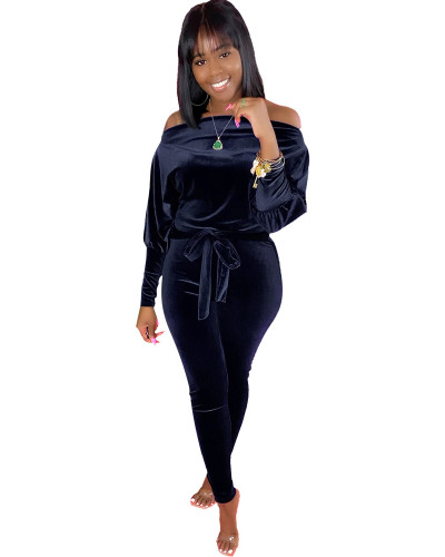 Black Leaky shoulder belt jumpsuit