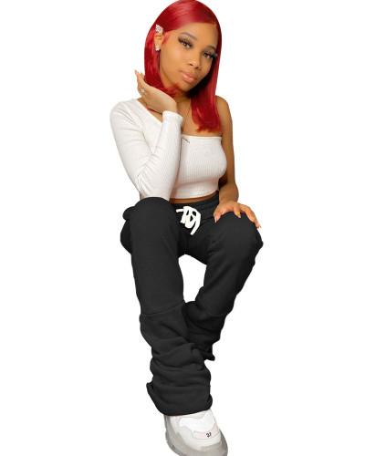 Black Plus velvet new stitching piled pants pants