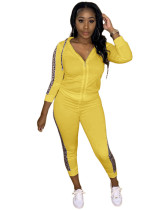 Yellow Pocket trousers casual two-piece suit