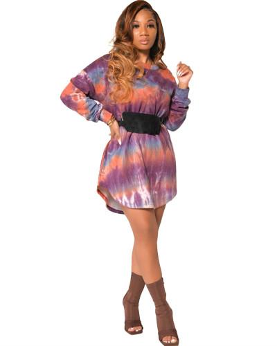 Purple Long sleeve tie-dye multicolor fashion casual dress
