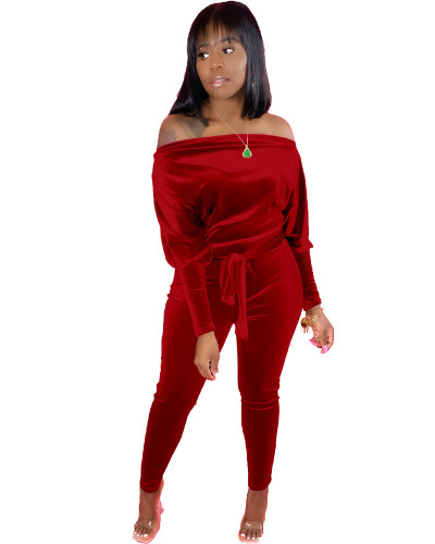 Red Leaky shoulder belt jumpsuit