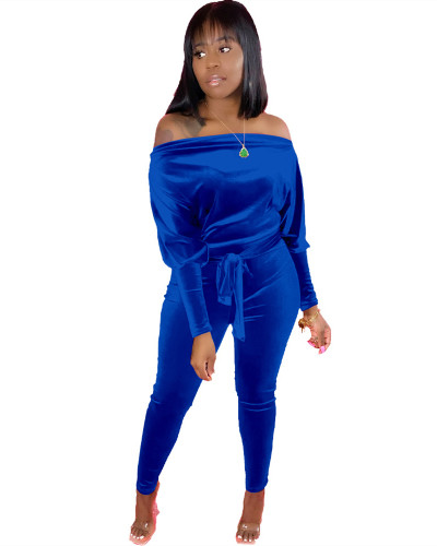 Blue Leaky shoulder belt jumpsuit