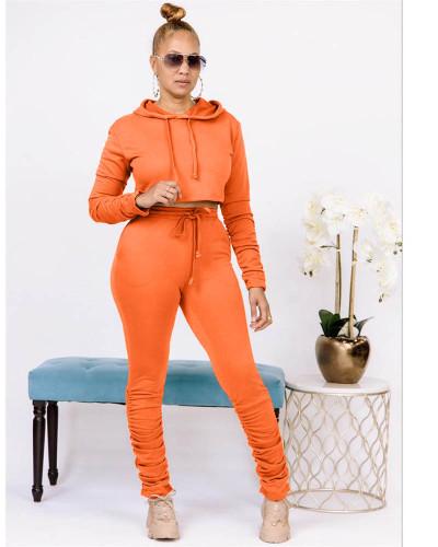 Orange Pure color sweatshirt pleated pocket hoodie sports suit