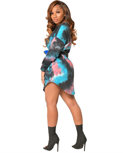 Blue Long sleeve tie-dye multicolor fashion casual dress