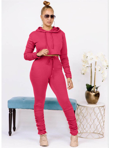 Red Pure color sweatshirt pleated pocket hoodie sports suit