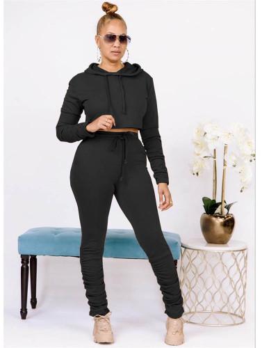 Black Pure color sweatshirt pleated pocket hoodie sports suit