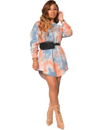 Pink Long sleeve tie-dye multicolor fashion casual dress