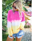 Rose red Rainbow gradient print long-sleeved sweatshirt
