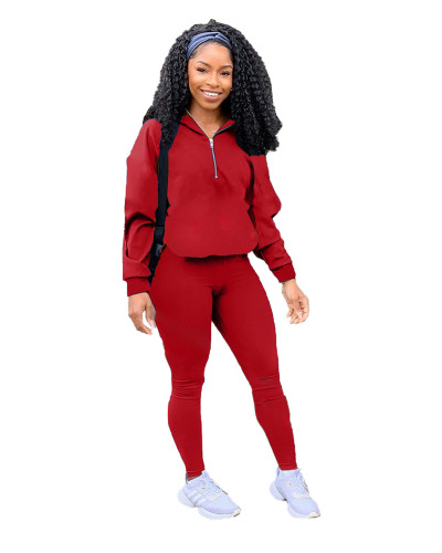 Red Pure color zipper leisure sports two-piece suit