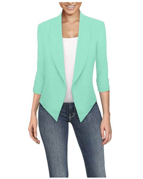 Light green  Long sleeve solid color cardigan irregular hem small suit women