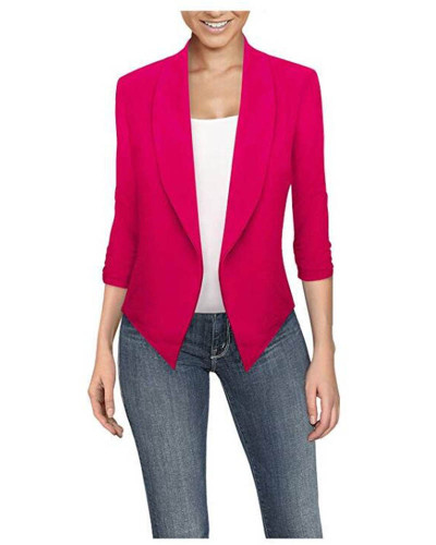 Rose red  Long sleeve solid color cardigan irregular hem small suit women