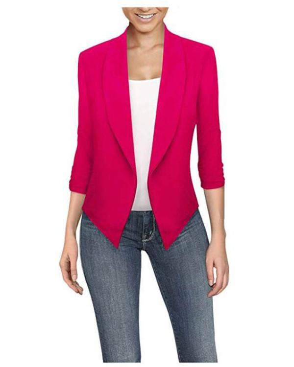 Rose red  Long sleeve solid color cardigan irregular hem small suit women