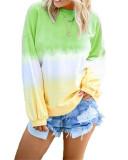 Rainbow gradient print long-sleeved sweatshirt