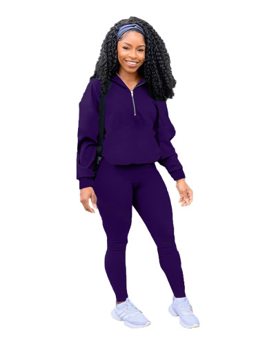 Purple Pure color zipper leisure sports two-piece suit
