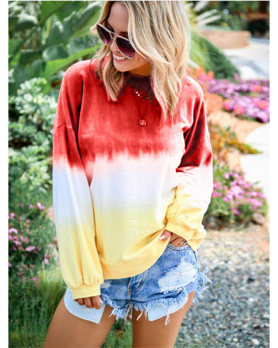 Red Rainbow gradient print long-sleeved sweatshirt