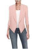 Pink  Long sleeve solid color cardigan irregular hem small suit women