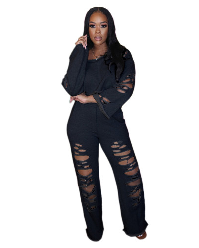 Black Ripped off shoulder loose long sleeve casual suit
