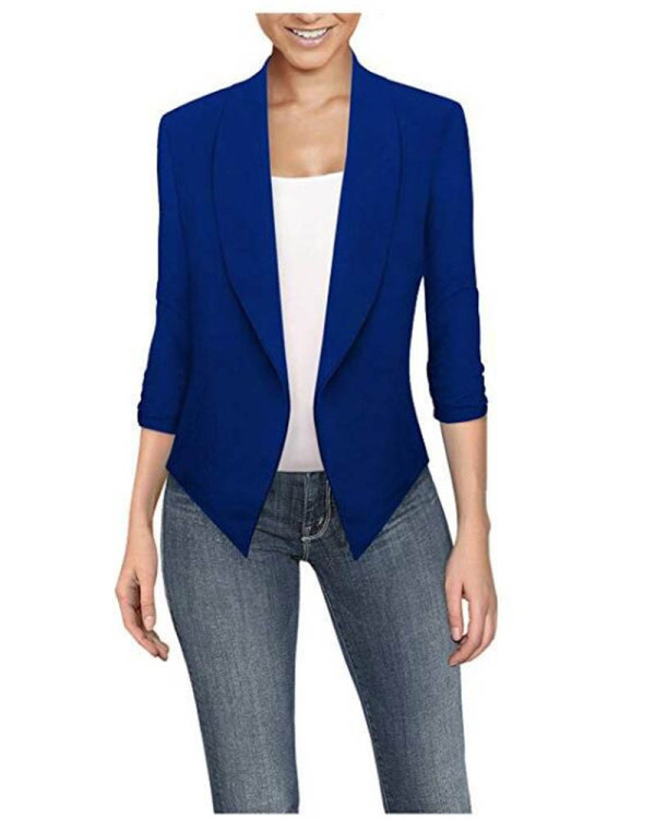 Bule Long sleeve solid color cardigan irregular hem small suit women