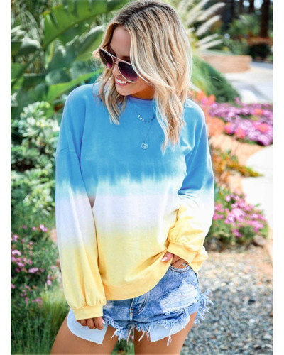Bule Rainbow gradient print long-sleeved sweatshirt