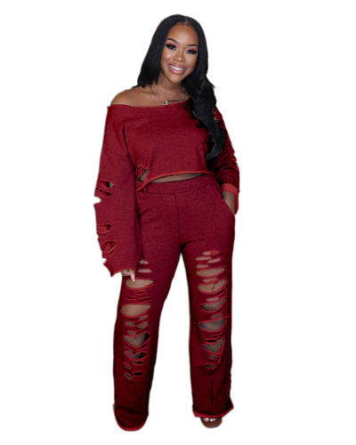 Red Ripped off shoulder loose long sleeve casual suit