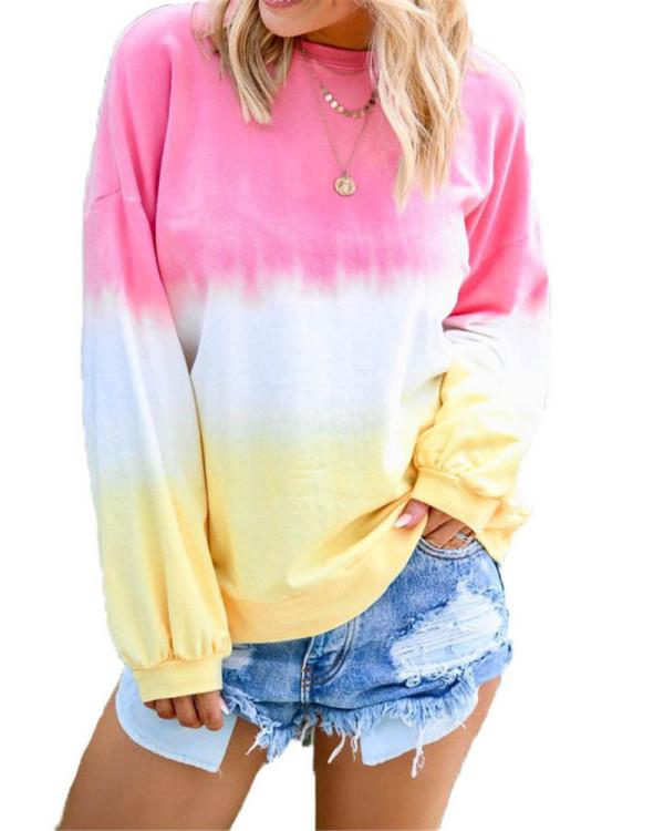 Pink Rainbow gradient print long-sleeved sweatshirt