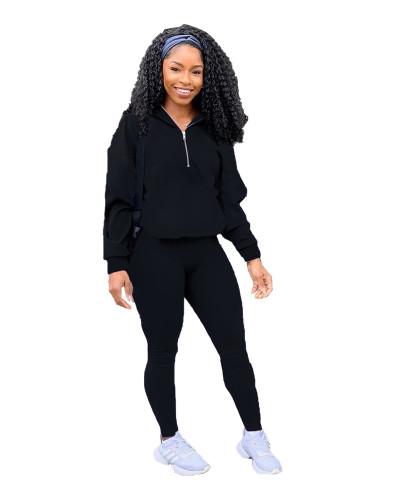 Black Pure color zipper leisure sports two-piece suit