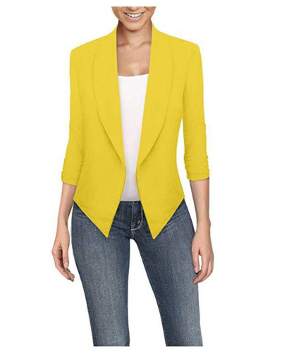 Yellow Long sleeve solid color cardigan irregular hem small suit women
